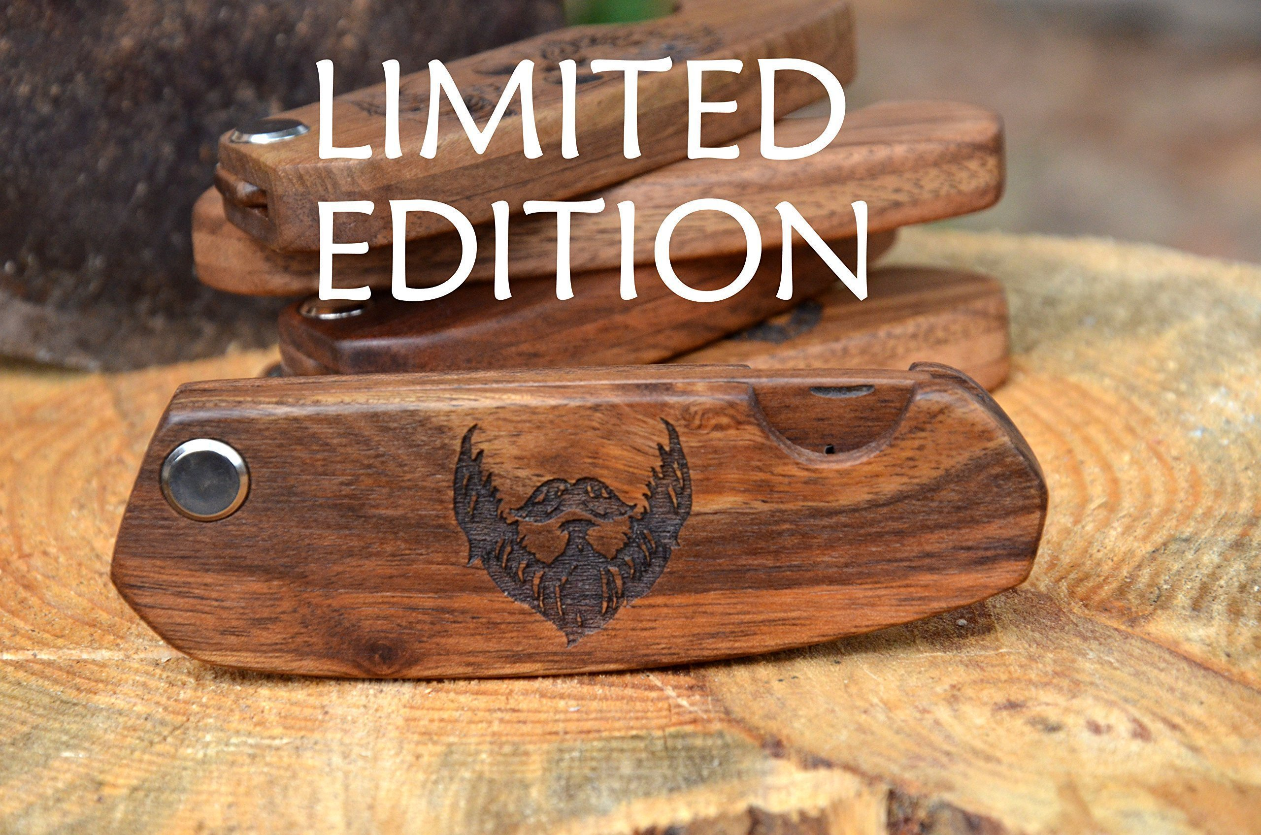 Wood Beard Comb Walnut Engraved Wooden Hair Folding Pocket Father Gift for Bachelor Party Stag Party
