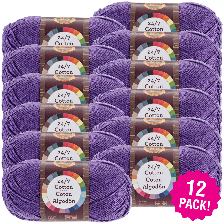 Lion Brand 98129 24/7 Cotton Yarn-12/Pk-Purple, 12/Pk, Purple Pack