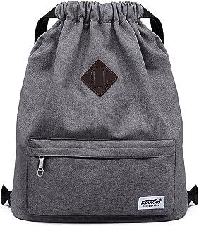 2ae44a10d9 Drawstring Sports Backpack Lightweight Gym Yoga Sackpack Shoulder Rucksack  for Men and Women-Dark Grey