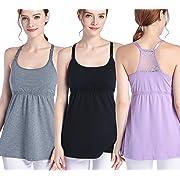 SUIEK Nursing Top Tank Cami Maternity Shirt Sleep Bra For Breastfeeding 3PCS/Pack (X-Large, Black + Dark Grey + Purple (3/Pack))