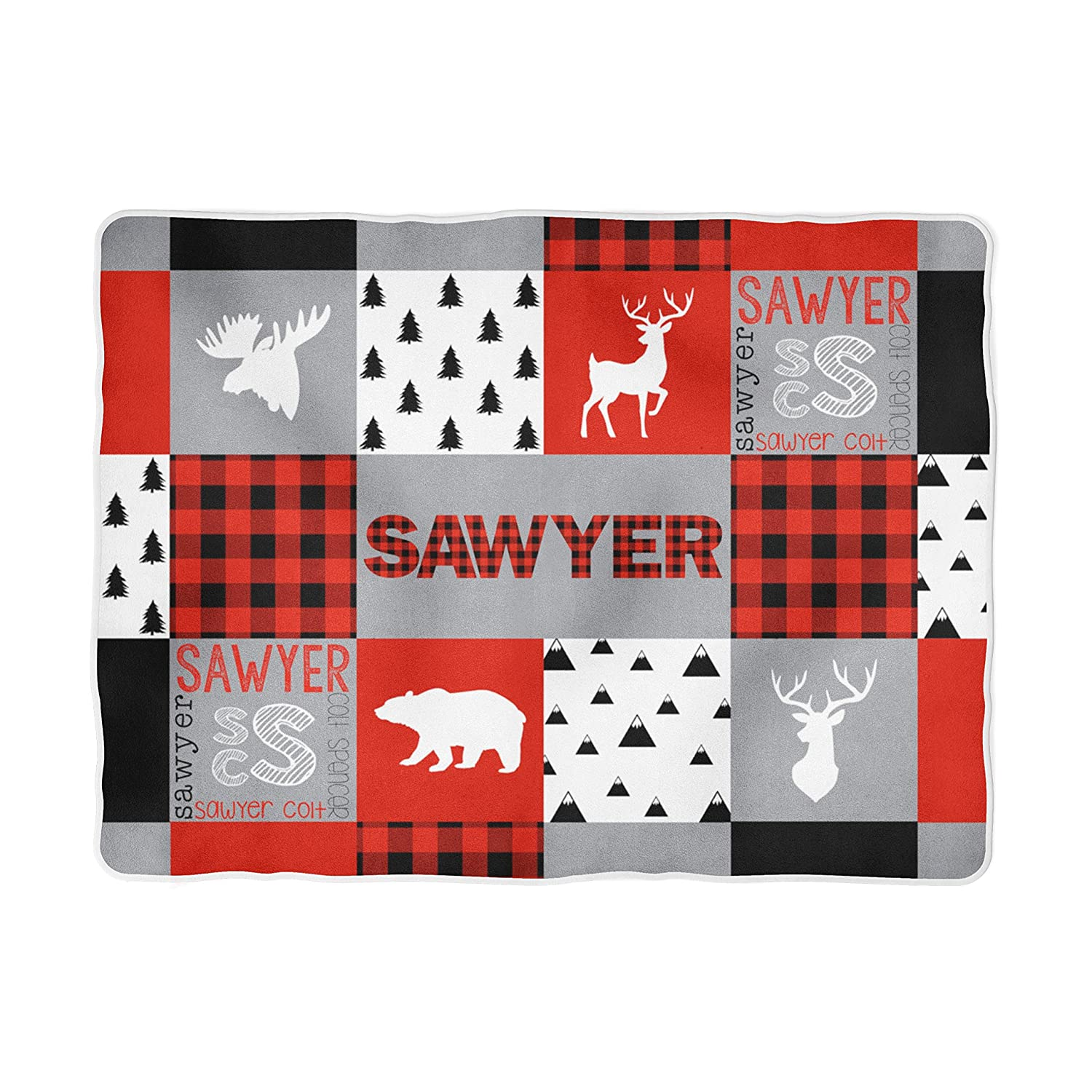 Buffalo Plaid Personalized Baby Blanket - Woodland - Deer - Bear - Moose