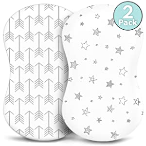 Bassinet Sheets - Fitted, Premium Jersey Cotton - Baby Bedside Sleeper Cover - Universal Sheet Set for Rectangle, Oval, or Hourglass Bassinet Mattress - White 2 Pack for a Girl or Boy - Arrow Stars