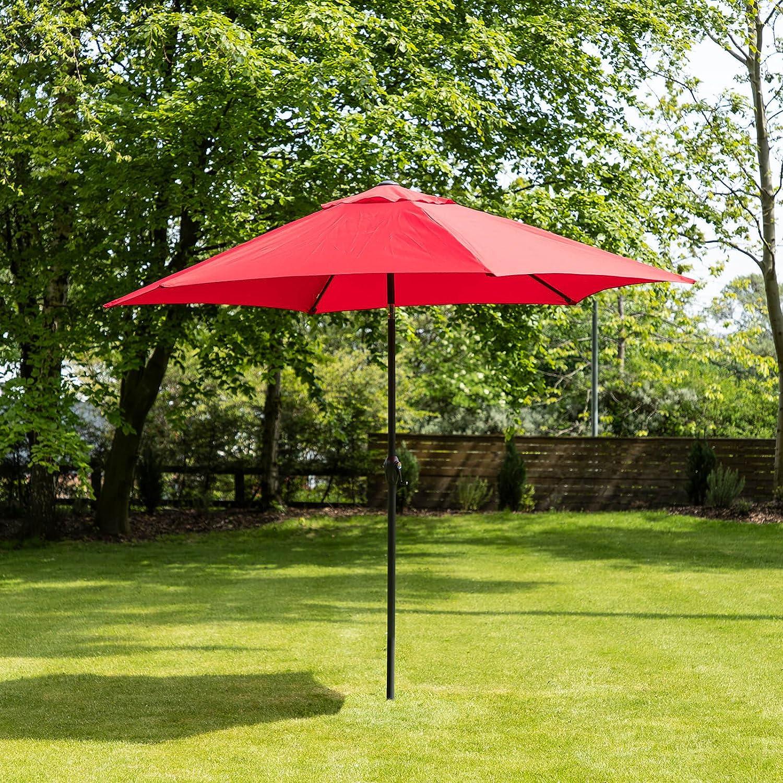 3m Aluminium Wind Up Garden Parasol Sun Shade Patio Outdoor Umbrella - Choice of Colours (Cream) Alfresia