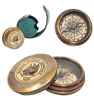 Other Maritime Antiques Search For Flights Brass Pocket Compass Nautical Maritime Boy Scouts Pocket Poem With Leather Case Choice Materials