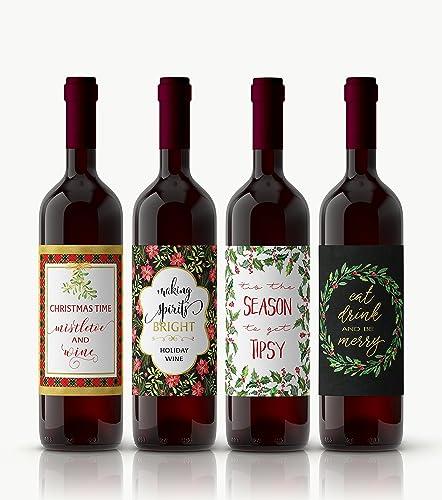 Amazon.com: Christmas Wine Labels ○ SET of 4 ○ Holidays Wine ...