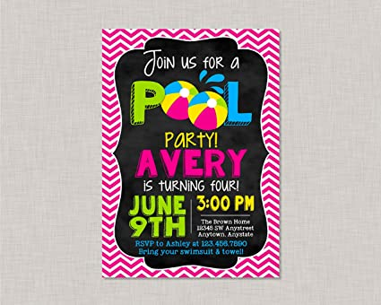Image Unavailable Not Available For Color Olga212Patrick Girl Pool Party Invitation Birthday