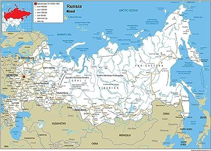 Rusia mapa mural de carretera – Papel laminado [ga] A0 Size 84.1 x 118.9 cm: Amazon.es: Oficina y papelería