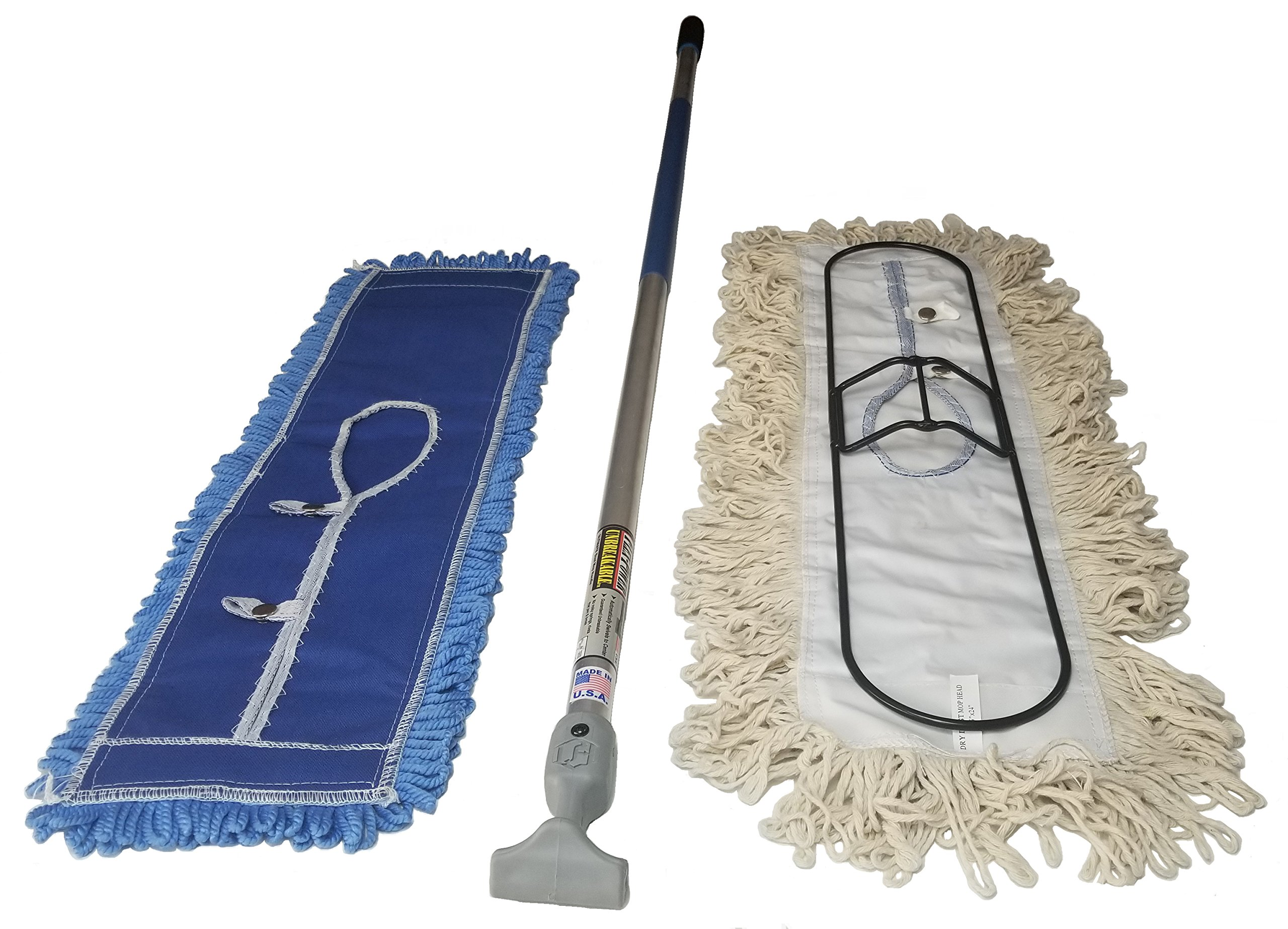FlexSweep 24 Inch Dust Mop Frame with Closed Loop Cotton Dust Mop and Cushioned Bottom Microfiber Dust Mop and with Unbreakable Aero-Aluminum Handle .