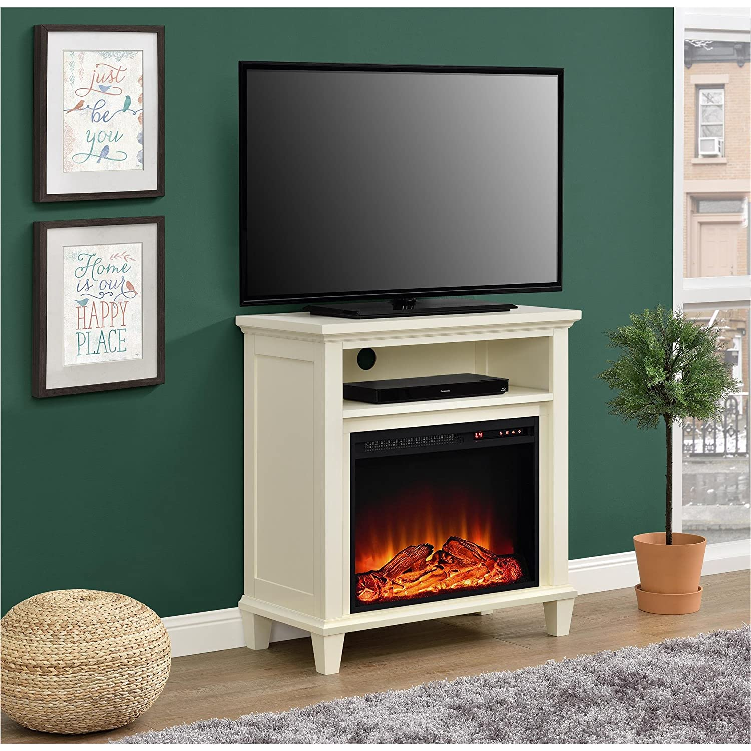 amazon com ameriwood home ellington electric fireplace accent