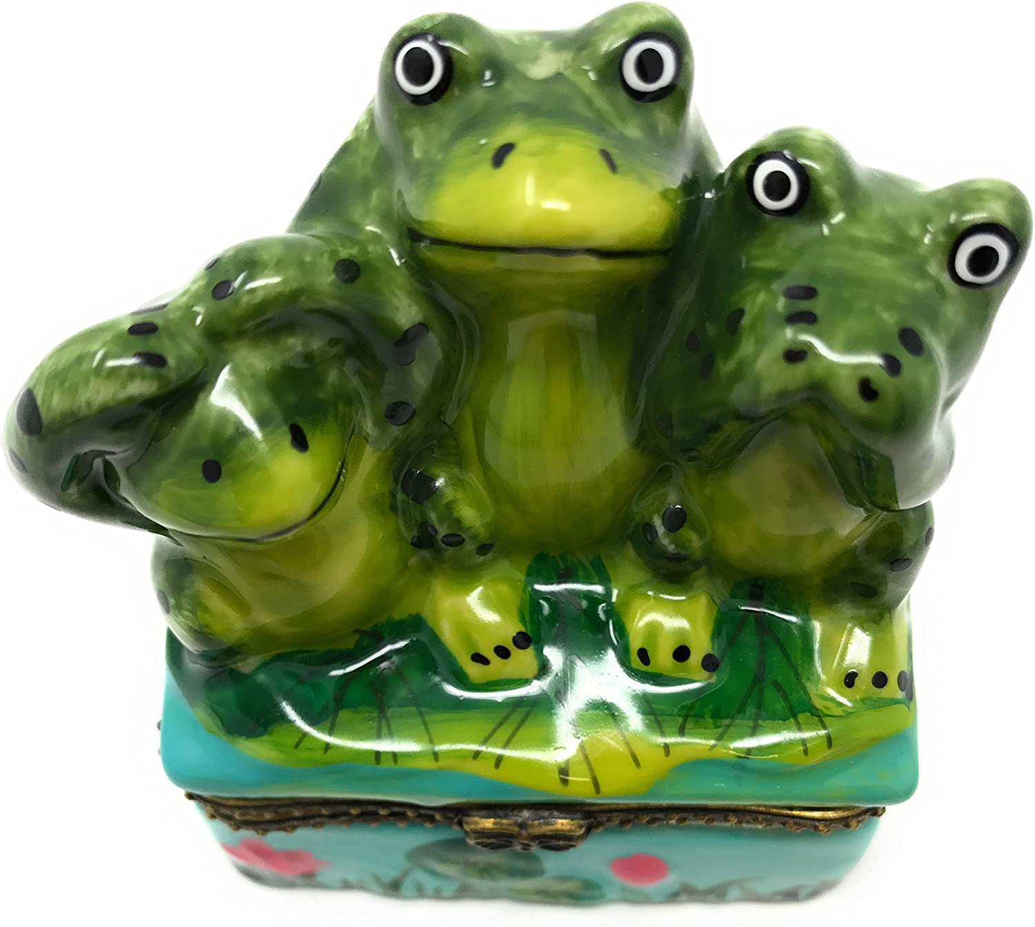 3 Frogs - See, Hear, Speak No Evil, Porcelain Hinged Lid Trinket Box with Tiny Trinket Inside, By ArtGifts, 2.5
