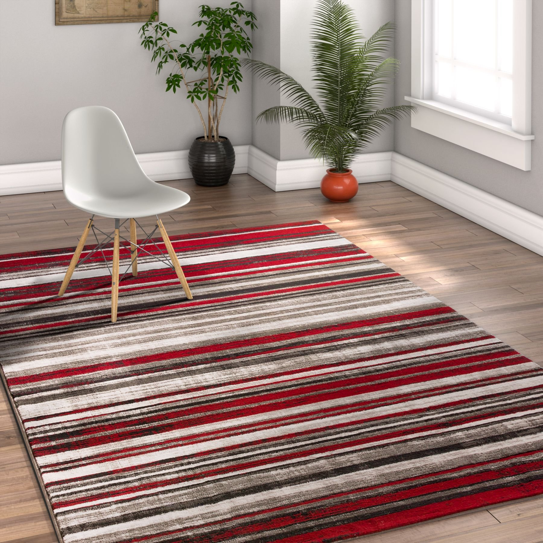 Riviera Stripe Red & Grey Modern Geometric Abstract Shabby Chic 8x10 ( 7'10'' x 9'10'' ) Area Rug Neutral Thick Soft Plush Shed Free