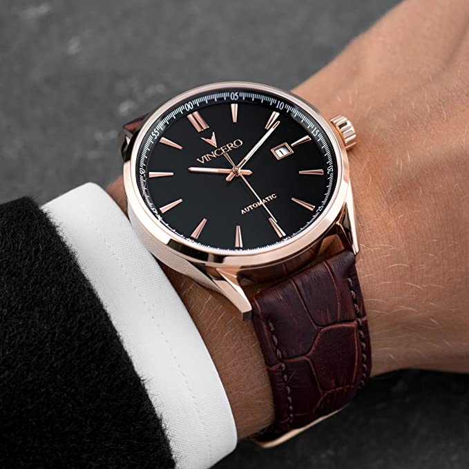 ... Luxury Mens Automatic Kairos Wrist Watch - Rose Gold with Brown Leather Watch Band - 42mm Automatic Watch - Japanese Automatic Movement: Watches