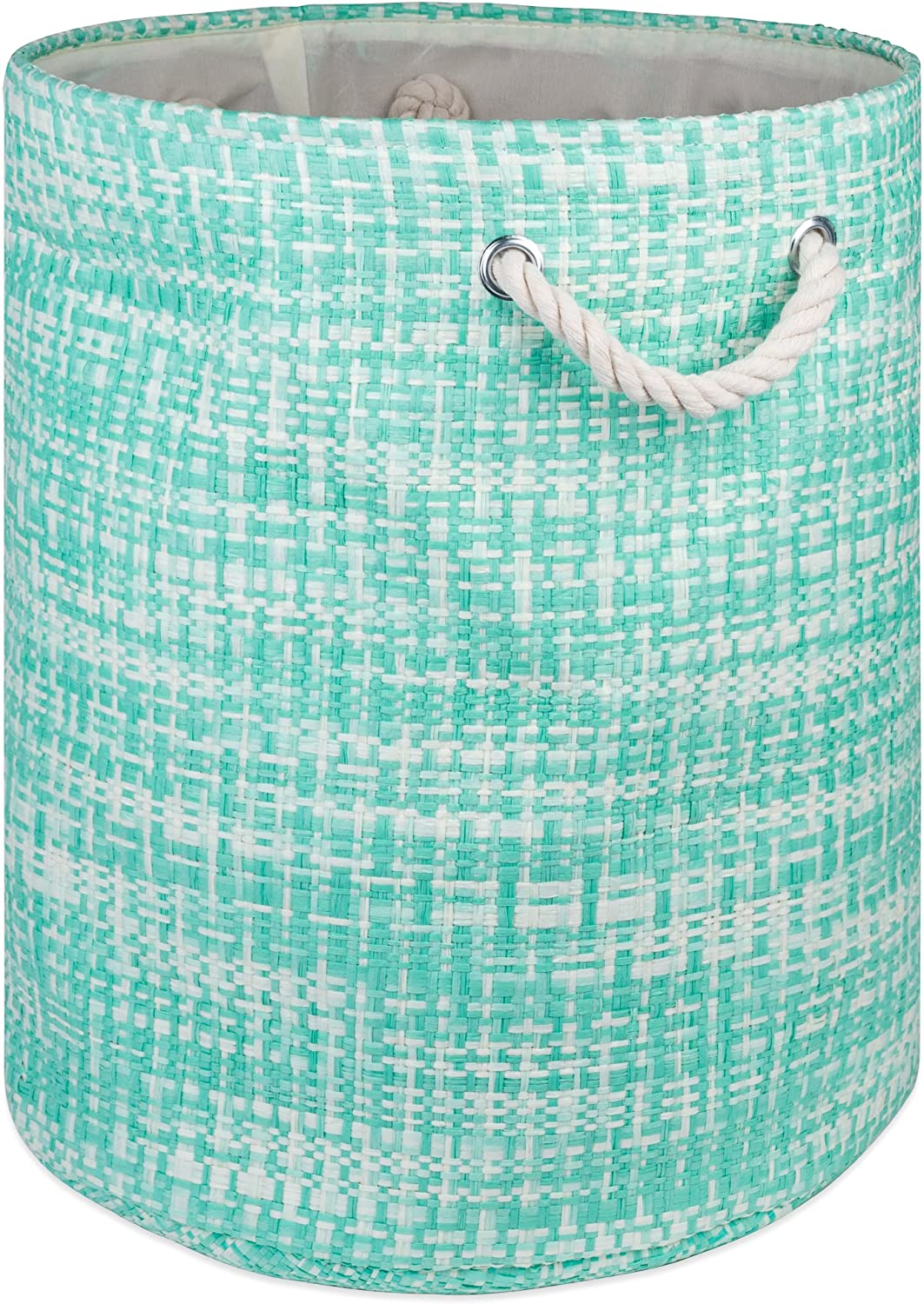 "DII Woven Paper Basket or Bin, Collapsible & Convenient Home Organization Solution for Bedroom, Bathroom, Dorm or Laundry (Large Round - 15x20""), Aqua Tweed"