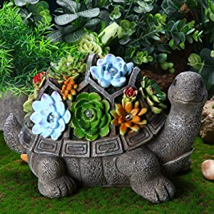 Jetec Solar Turtle Garden Figurine Turtle Statue Outdoor Decor Waterproof Resin Garden Decor Tortoise Sculpture Ornament with 7 LEDs for Patio Lawn Yard Garden Housewarming Fall Winter