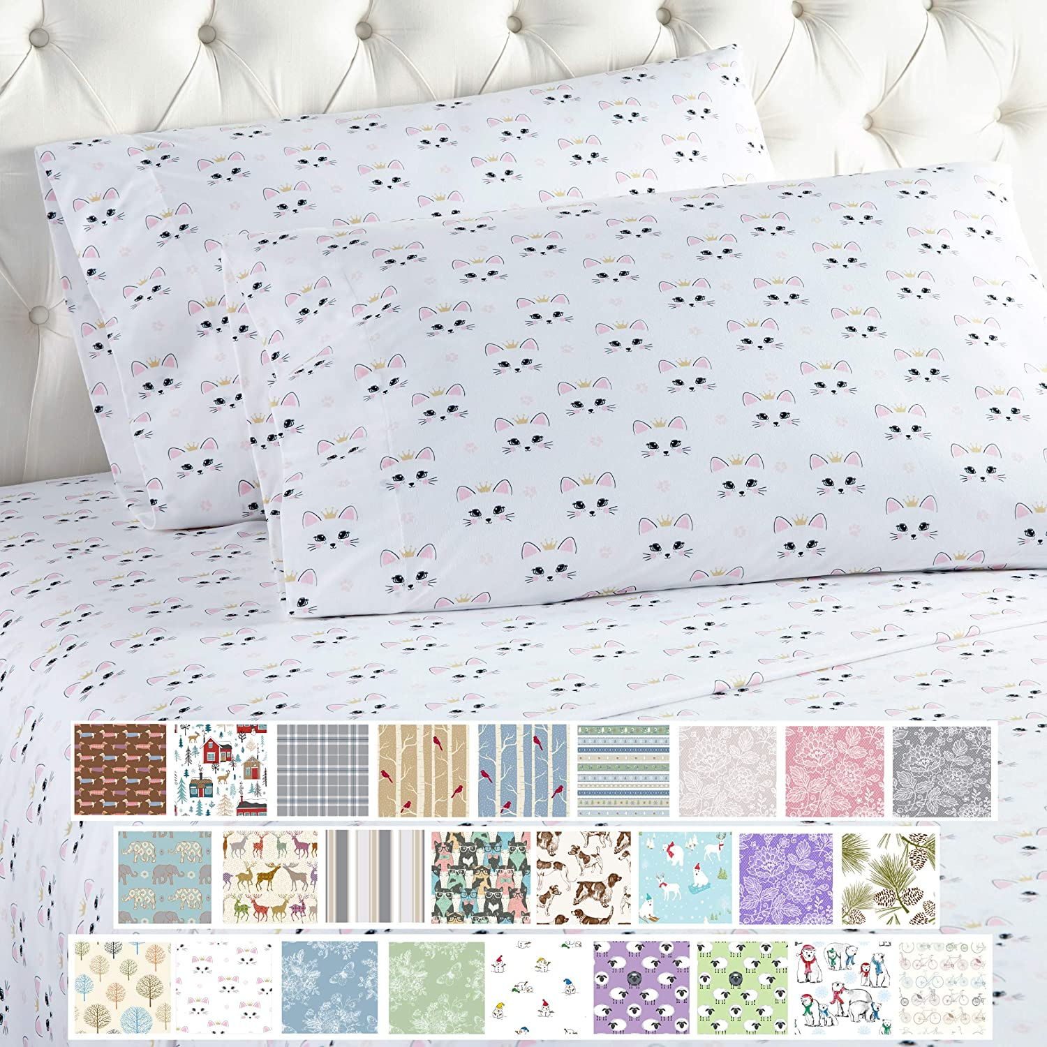 Amazon Com Thermee Micro Flannel Sheet Set California King Royal Cat Home Kitchen