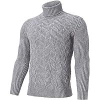 Jersey de Cuello Alto para Hombre, suéter bacsic, Jersey de Punto Informal de Manga Larga para Otoño Invierno M-XXL