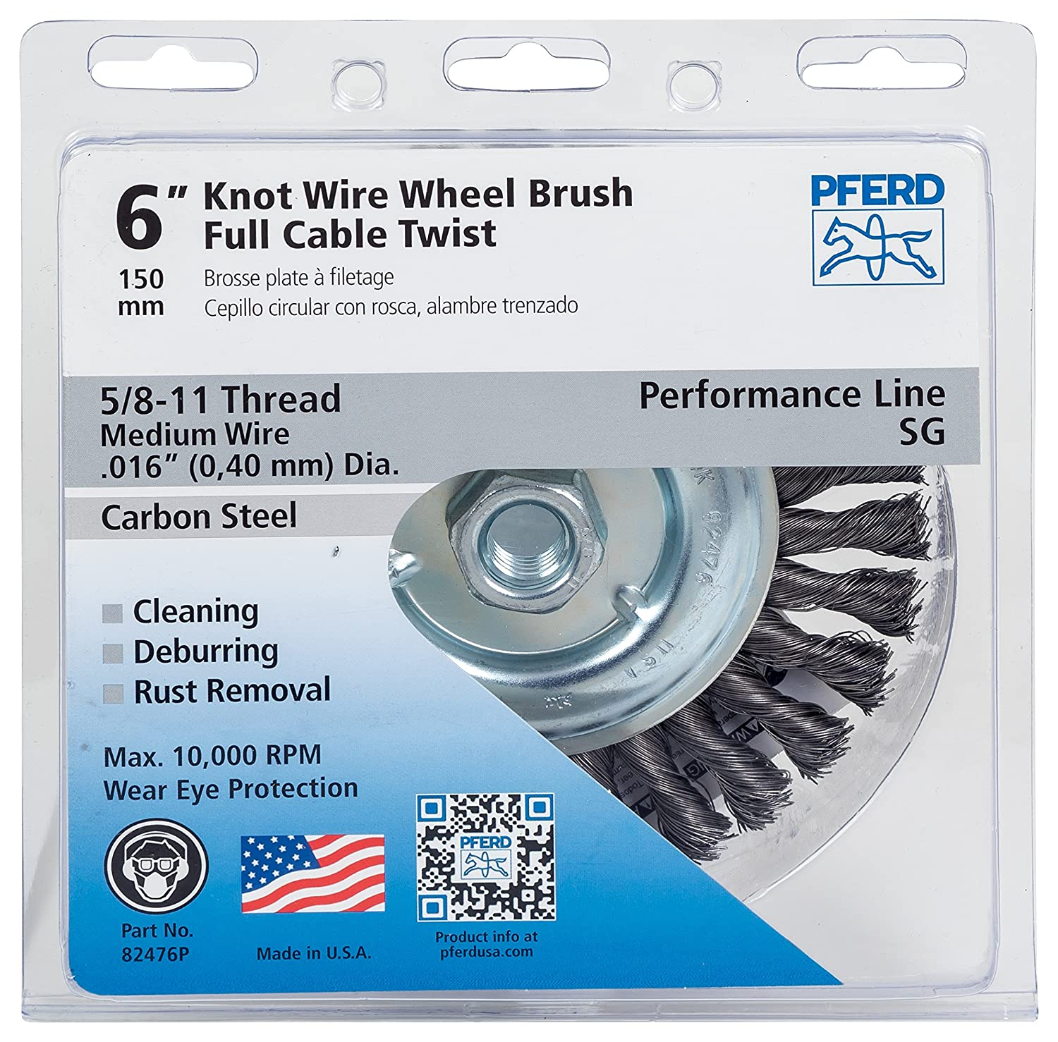 Pferd 82476P Full Cable Twist Knot Wheel Brush, Carbon Steel Wire, 6 ...