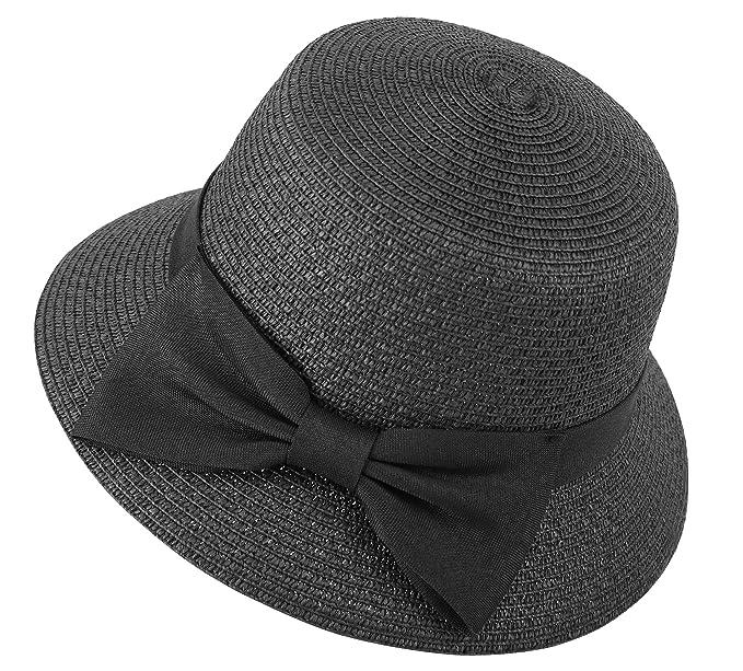 15fe506d543 Lullaby Womens Wide Brim Big Bowknot UPF 50+ Beach Bucket Straw Sun Hat  Black