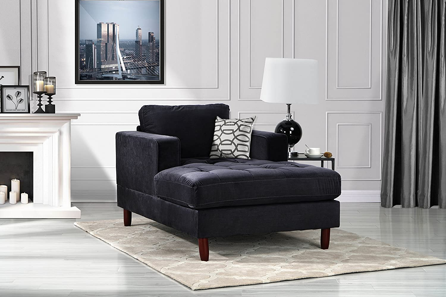 DIVANO ROMA FURNITURE Mid Century Modern Velvet Fabric Living Room Chaise  Lounge (Black)