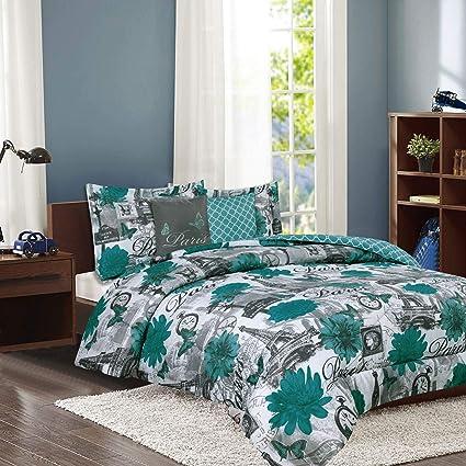 Howplumb Paris Bedding Comforter Bed Set Eiffel Tower Teal Blue Flower Full Queen