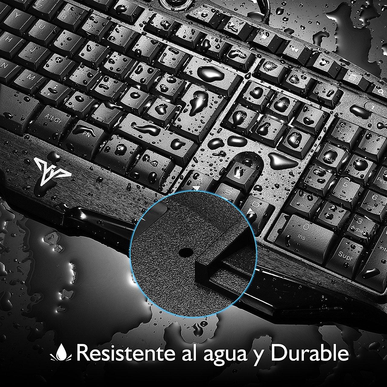 TOPELEK Teclado Gaming de Membrana con Cable, 7 Color Retroiluminado y Teclas Desmontables, Anti-Ghosting y 14 Teclas Multimedia con botón WIN y Botón ...