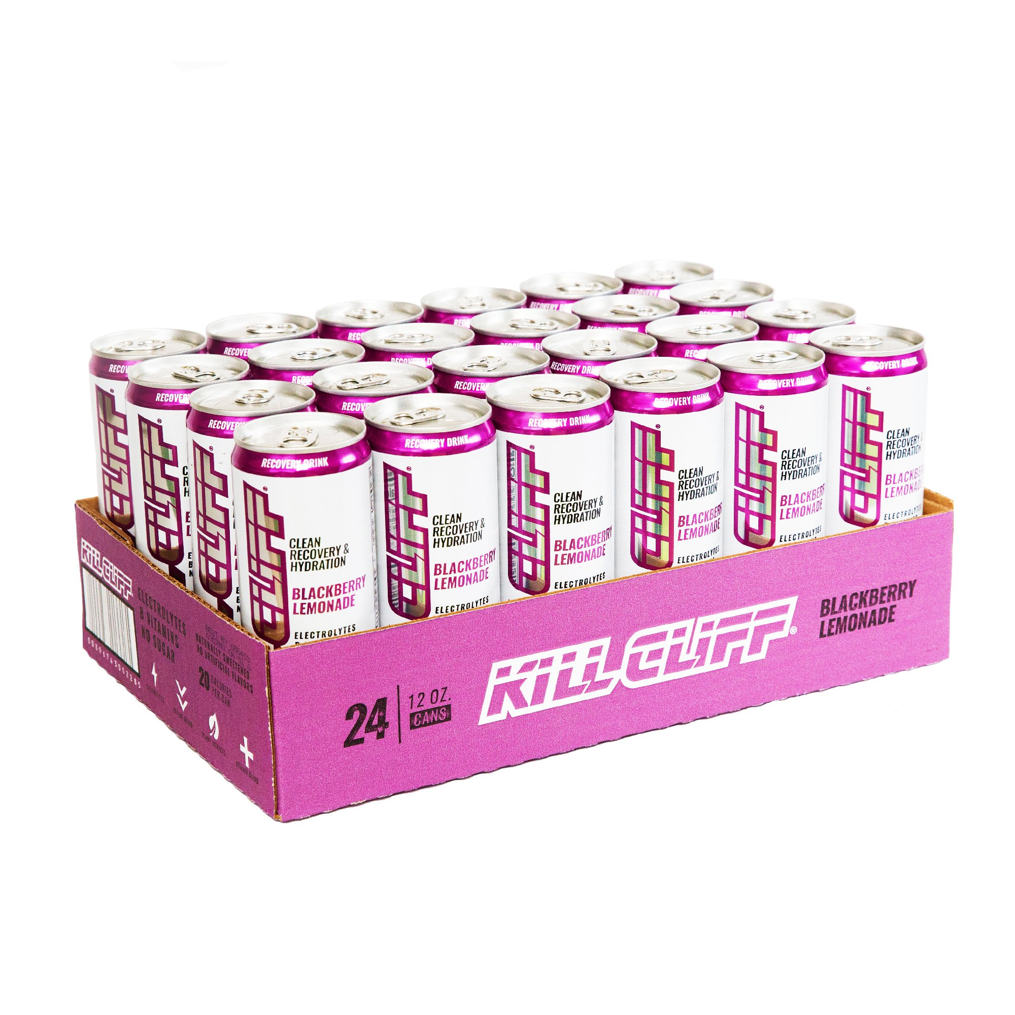 Kill Cliff Electrolyte Recovery Drink, Blackberry Lemonade, 12 Ounce, 24 Count; Low Cal, No Sugar