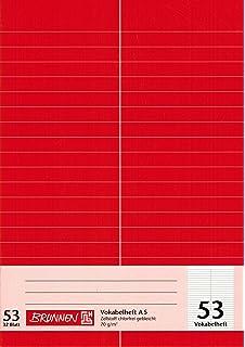 A5, 32 Blatt, liniert, 3 Spalten, Lineatur 54 Brunnen 1043925 Vokabelheft 1 St/ück /& 104052424 Hefth/ülle//Heftumschlag rot A4, Folie, mit Namensschild