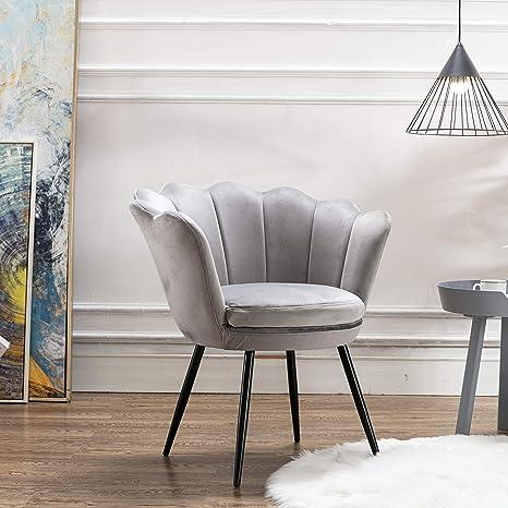 Mordern Velvet Bedroom Chair,Comfy Upholstered Accent Chair Single Sofa for  Living Room/Bedroom(Grey)