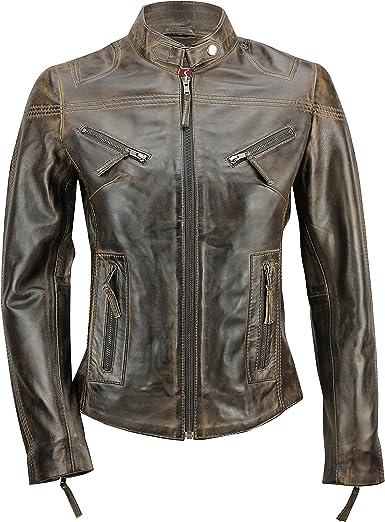 Cazadora vintage de estilo motero para mujer, piel auténtica de color marrón. Tallas de la S a la 5XL: Amazon.es: Ropa y accesorios