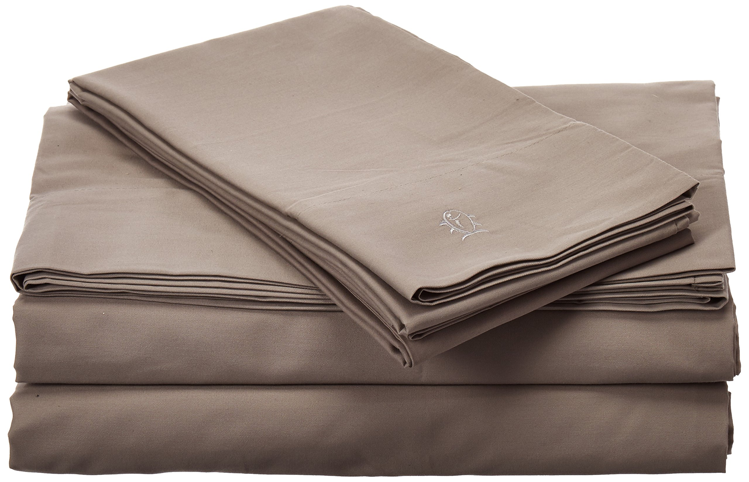 Southern Tide Skipjack Tonal Embroidered Twill Sheet Set, King, Nautical Gray