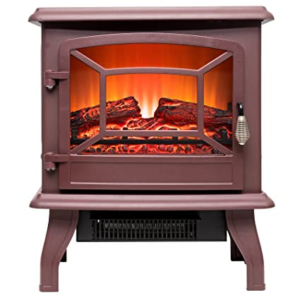 FIREBIRD 17u0026quot; Adjustable 2 Setting Freestanding Portable Tempered Glass  Electric Fireplace Stove Heater (RED