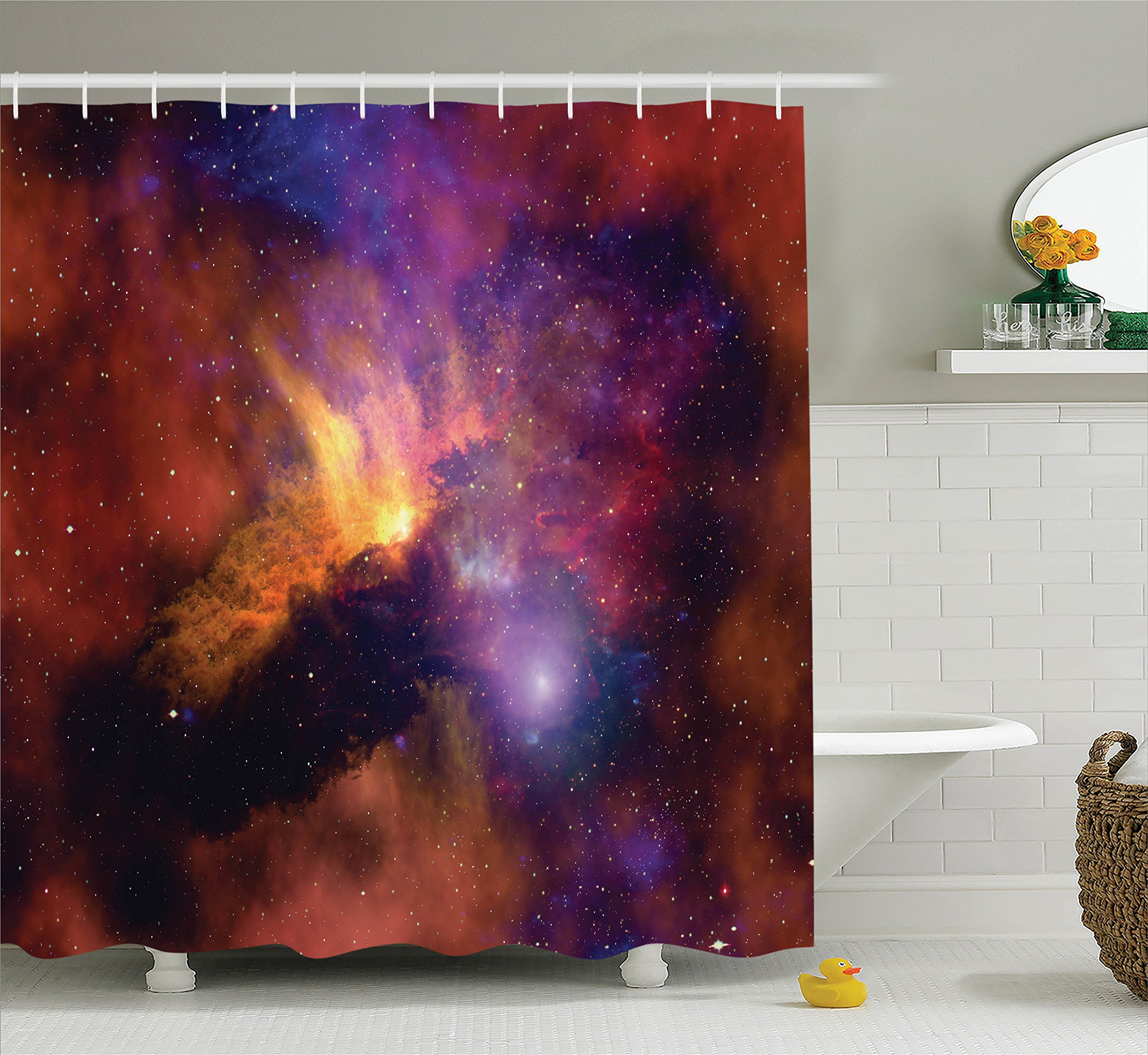 Ambesonne Space Decorations Collection, Space Stars and Nebula Gas and Dust Cloud Celestial Solar Galacy System Print, Polyester Fabric Bathroom Shower Curtain Set with Hooks, Purple Red Orange