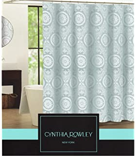 Cynthia Rowley Clara Blue Grey Medallion On White Fabric Shower Curtain