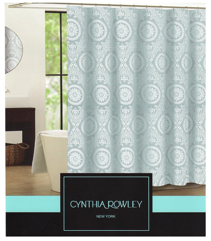 Cynthia rowley medallion shower curtain - Amazon Com Cynthia Rowley Clara Blue Grey Medallion On White Fabric Shower Curtain Home Kitchen