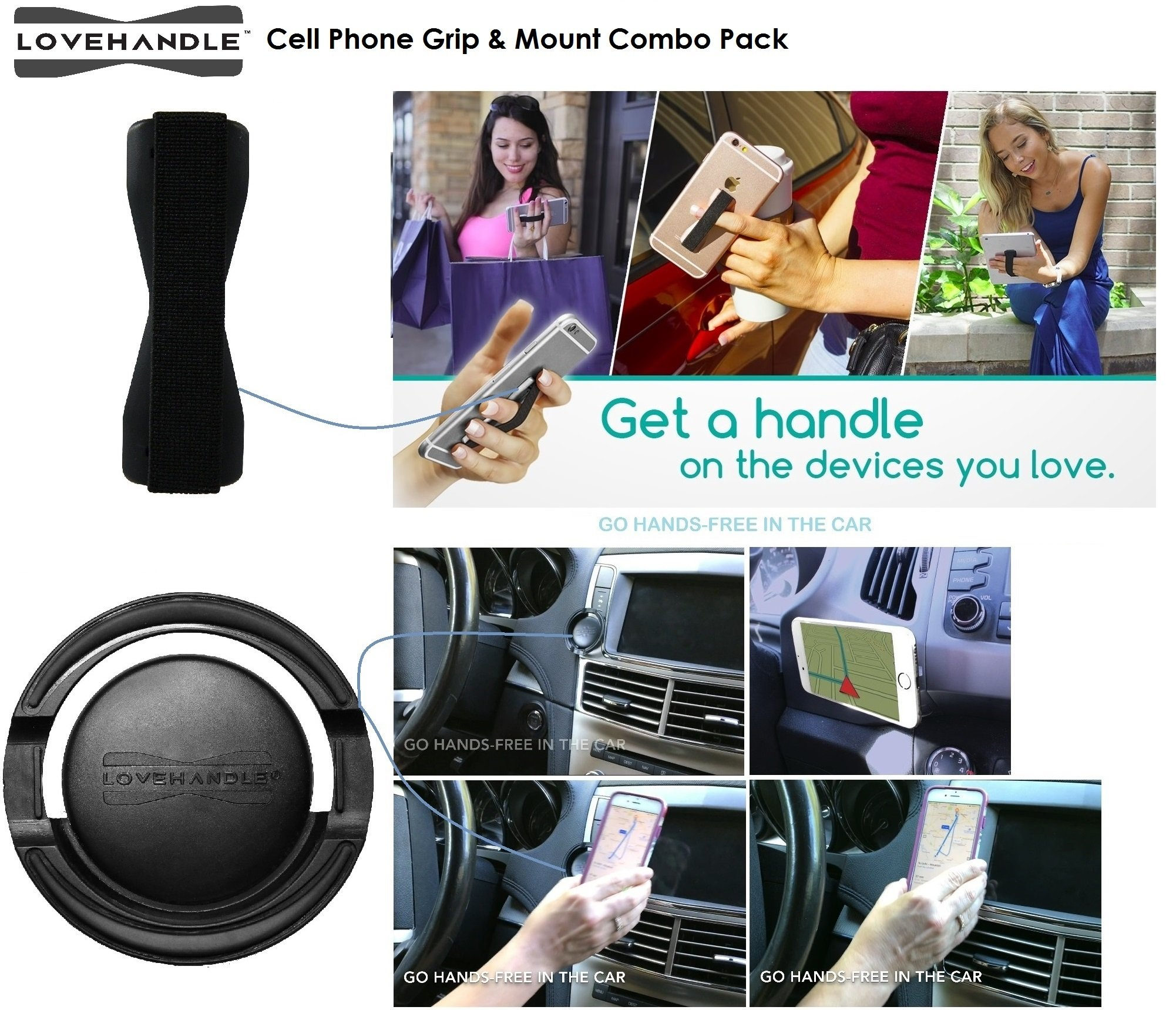 Cell Phone Holder and Grip - LoveHandle 360 Mount and Grip - Car Mount for Smartphones and Mini Tablets with 360 Rotation Technology - Combo Pack (Black Grip and Mount)