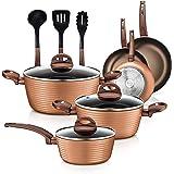12-Piece Nonstick Kitchen Cookware Set - PTFE/PFOA/PFOS-Free Heat Resistant Lacquer Kitchen Ware Pots Pan Set Coffee/Brown -