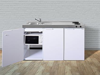 Stengel miniküche pantryküche single küche 150cm weiss metall becken rechts