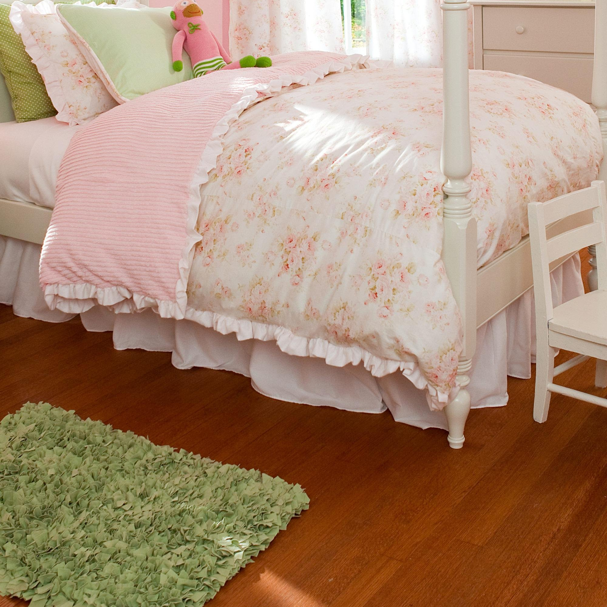 Carousel Designs Solid Pink Bed Skirt Gathered Twin Size