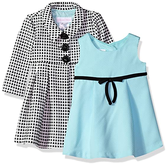 Bonnie Baby Girls Dress and Coat Set, Black Aqua, 0-3 Months 21e65c3d604