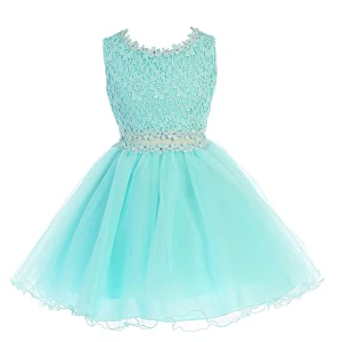 74efe78f985 Little Girls Aqua Lace Tulle Layers Junior Bridesmaid Flower Girl Dress  Size 2