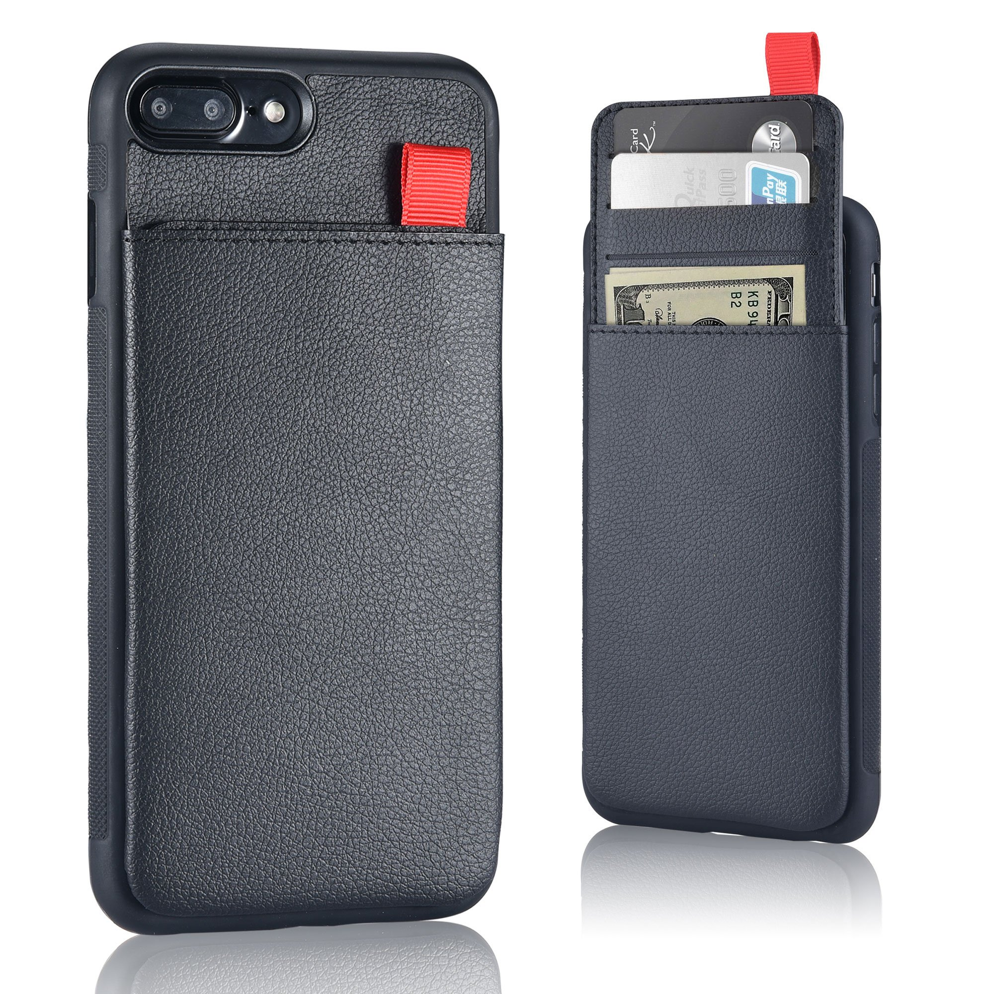 MANGATA TRITON Leather Wallet case compatible with iPhone 8 Plus, iPhone 7 Plus | Hidden Wallet Pocket, Rugged Shell | Cruelty Free Leather | Credit Card Holder, Cash Pocket, Screen Protector (Black) by Mangata Cases (Image #1)