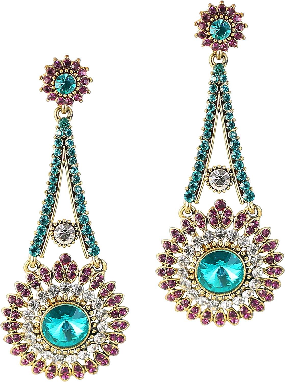 Touchstone Pendientes largos de estilo indio Bollywood con diamantes de imitación estilo victoriano para boda o noche, para mujer en tono dorado antiguo