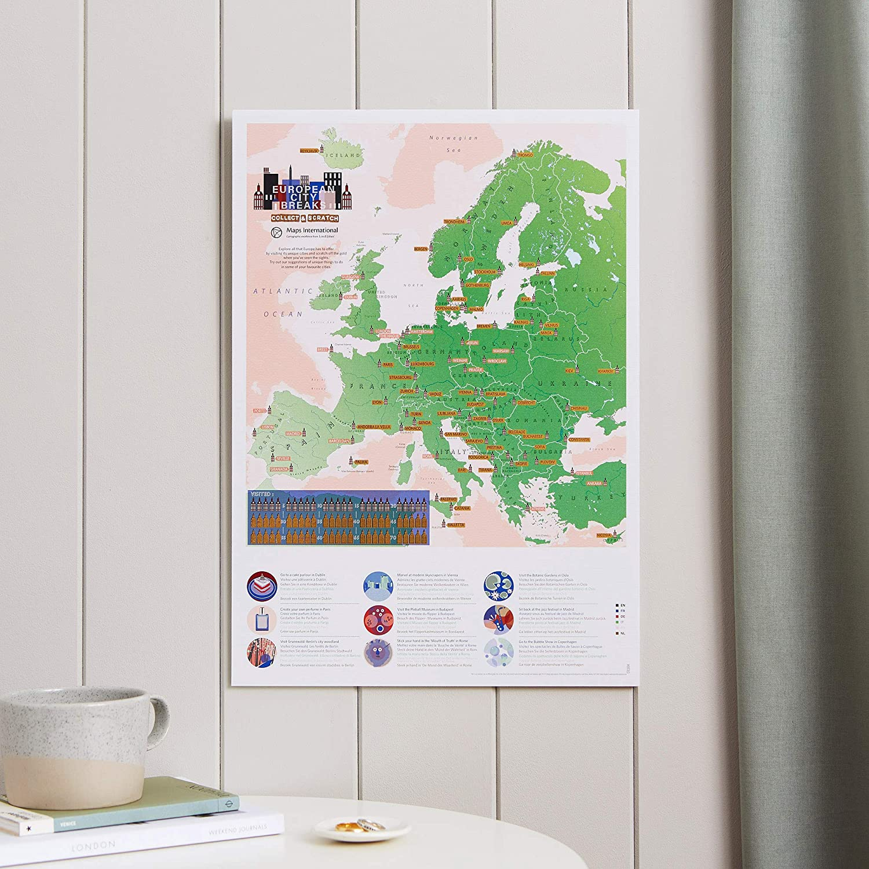 Maps International - Mapa para rascar, diseño de ciudades europeas, 42 x 30 cm, 50 años de fabricación de mapas: Amazon.es: Hogar