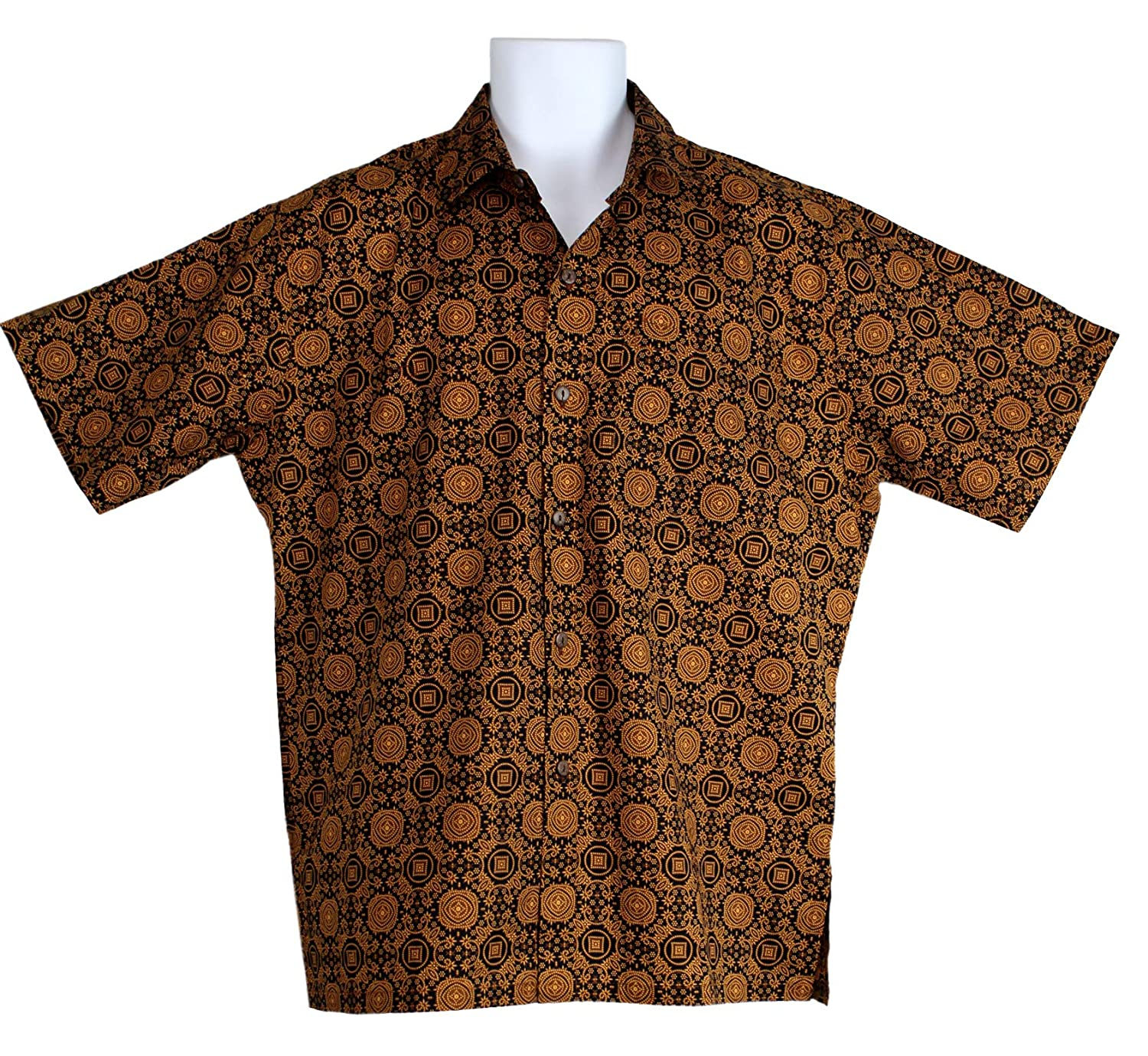 Mens Cotton Island Style Short Sleeve Shirt Traditional Batik Print