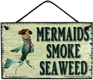 Egbert's Treasures 5x8 Vintage Style Sign with Redheaded Mermaid, Saying Mermaids Smoke Seaweed - Decorative Fun Universal Household Family Signs for Your Home (5x8)