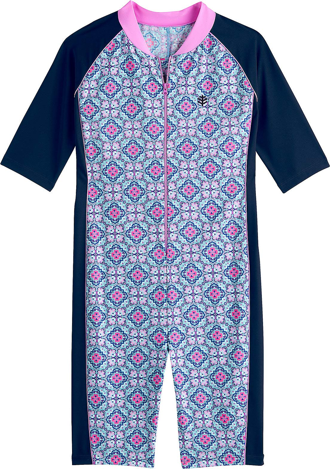 Coolibar UPF 50+ Kids' Neck-to-Knee Surf Suit - Sun Protective (Large- Aqua Spanish Mosaic)