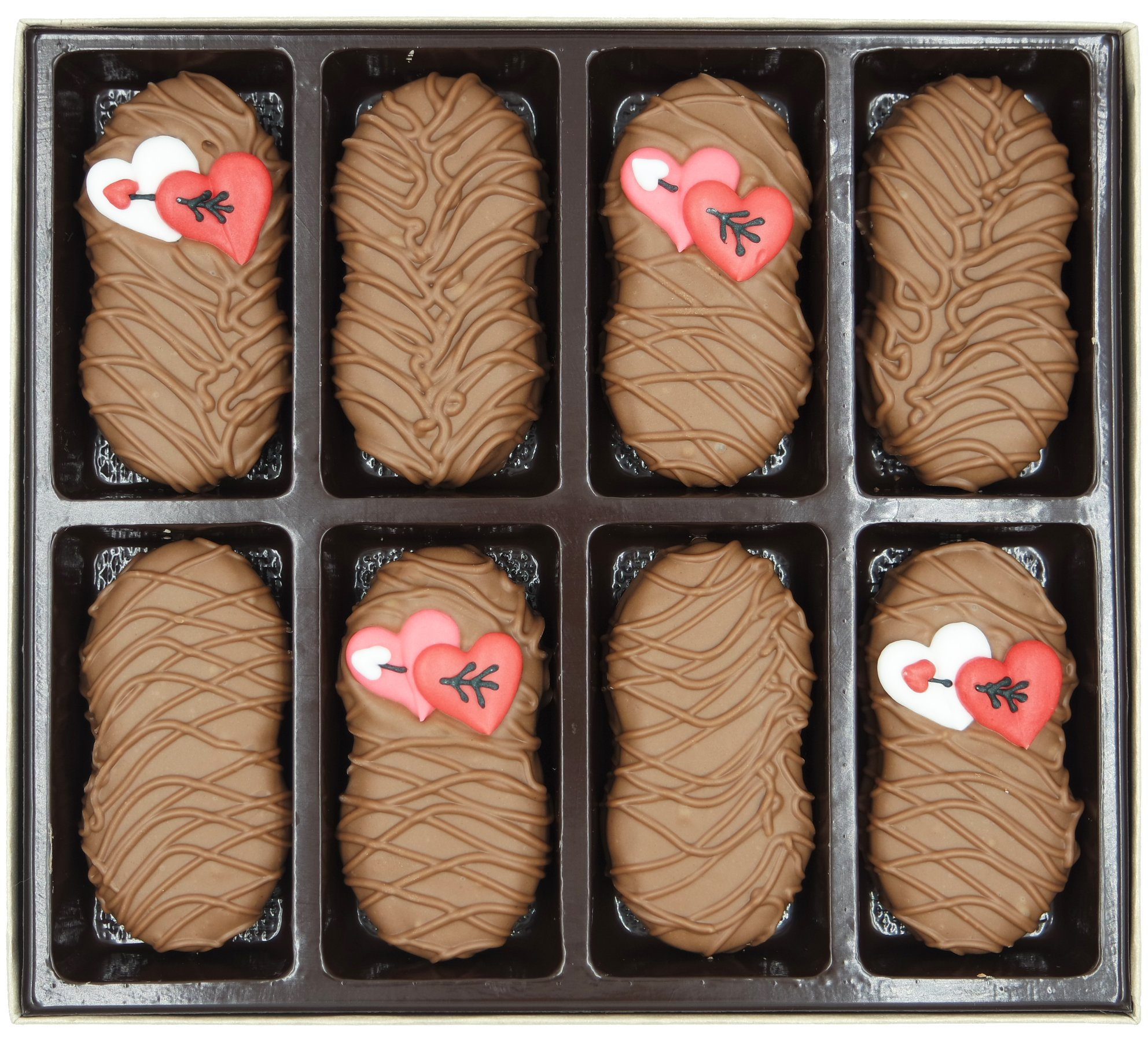 Philadelphia Candies Milk Chocolate Covered Nutter Butter Cookies Valentines Day Heart With Arrows Gift Net