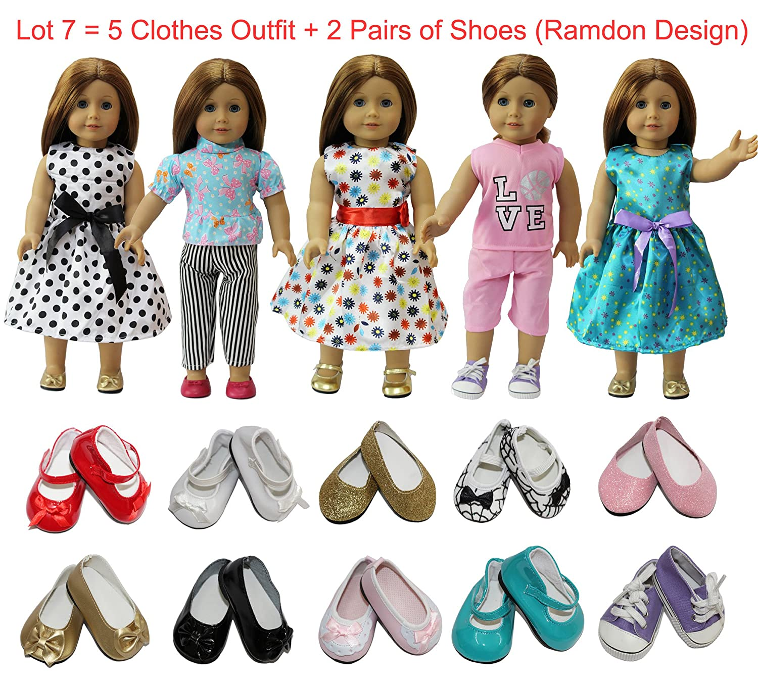 ZITA ELEMENT American 18 inch Girl Doll Outfits Lot 7 = 5 Daily Costumes Clothes + 2 Ramdon Style Shoes for 18' Girl Doll Accessories