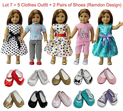 39a8a81dad Amazon.com  ZITA ELEMENT American 18 inch Girl Doll Outfits Lot 7 ...