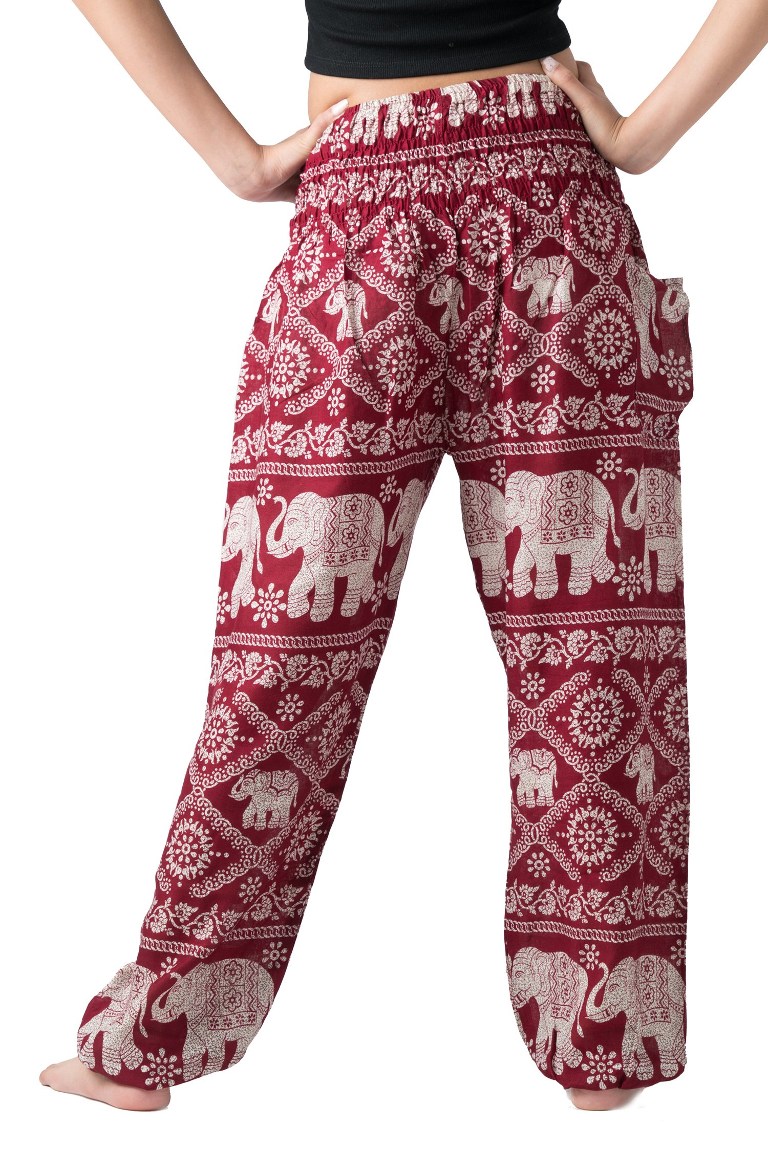 22fed0c79c8b6 Bangkokpants Women's Casual Pants Harem Bohemian Clothes Hippie Boho Yoga  Outfits Smocked Waist (Red, One Size) - BP2015 < Pants < Sports & Outdoors  - tibs